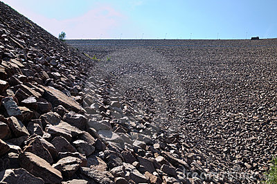 Slope of water dam full of stone