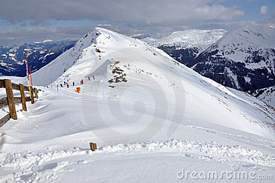 Slopes in the ski resort Salbaach, Austrian Alps