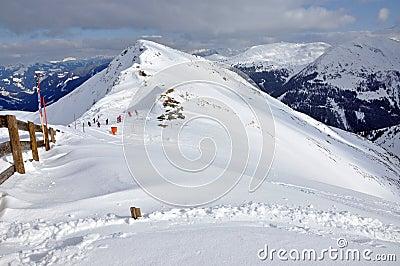 Slopes in the ski resort Salbaach, Austrian Alps