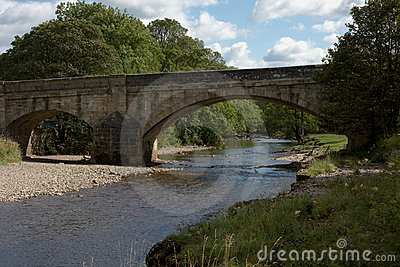 Sloping stone arch bridge in the Yorkshire Dales
