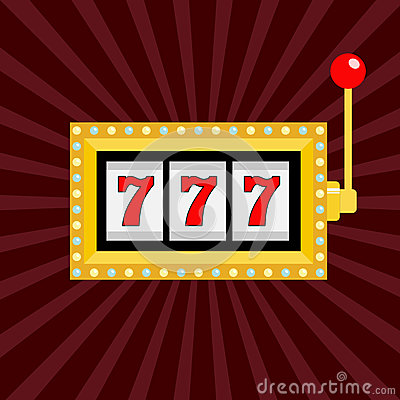 Free Slot Machine. Golden Color Glowing Lamp Light. 777 Jackpot. Lucky Sevens. Red Handle Lever. Big Win Online Casino, Gambling Club S Stock Image - 93319831