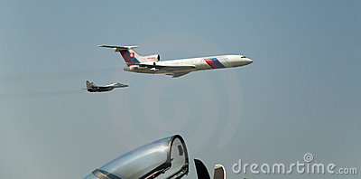 Slovac Air Force Tupolev Tu-154M  and Mig 29 Editorial Stock Photo