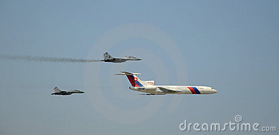 Slovac Air Force Tupolev Tu-154M  and two Mig 29 Editorial Image