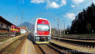 A Slovac  regional train is waiting in station Editorial Stock Image