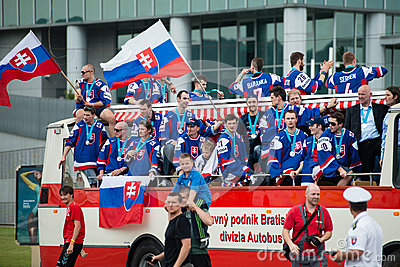 Slovak ice hockey team greets with fans Editorial Photo