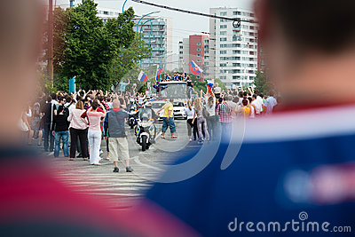 Slovak ice hockey team greets with fans home. Editorial Image