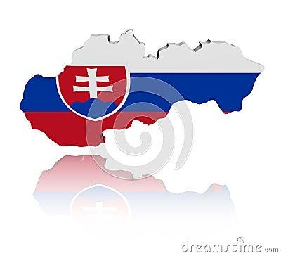 Slovakia map flag with reflection