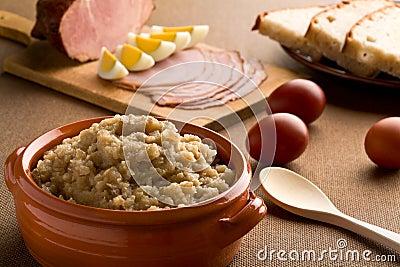 Slovene traditional Easter dinner made of turnip