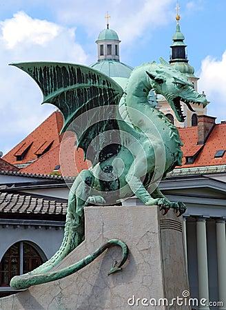 Slovenia Ljubljana Dragon at Zmajski most