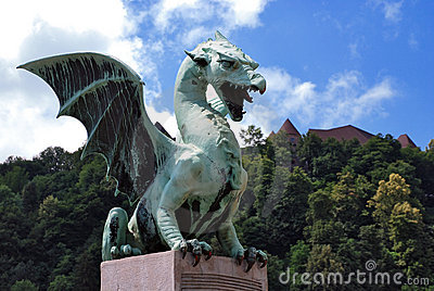 Slovenia Ljubljana Dragon at Zmajski Most