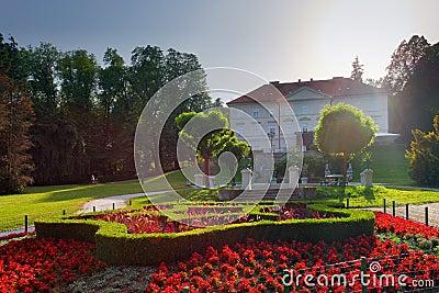 Slovenia Ljubljana Tivoli castle and flowers vertical view