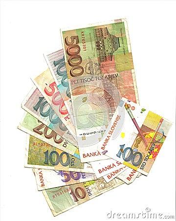 Slovenian tolar banknotes back