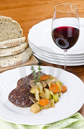 Slow Cooked Beef Shank Served with Red Wine
