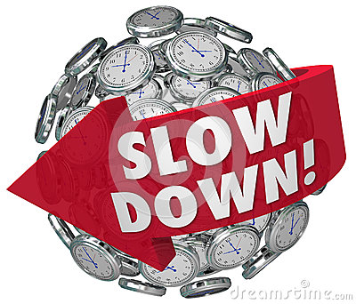 Slow Down Clocks Sphere Time Passing Too Quickly Fast Warning Stock Photo