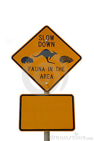 Free Slow Down Fauna Sign Isolated On White Royalty Free Stock Photo - 4789965