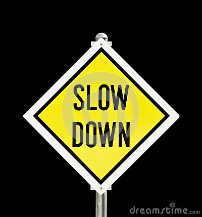 Slow Down Yellow Road Sign Isolated Stock Images - Image ...