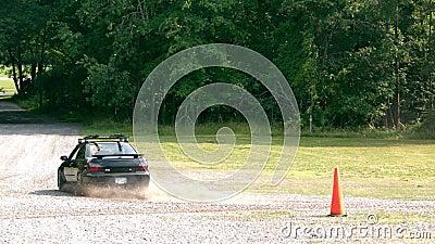 Slow motion car on gravel stock video