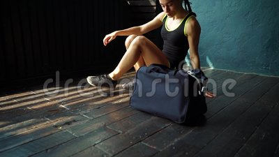 ed6ed713ea Slow Motion Fit Young Woman Legs Entering Gym With Bag And Preparing For  The Training Stock Footage - Video of floor