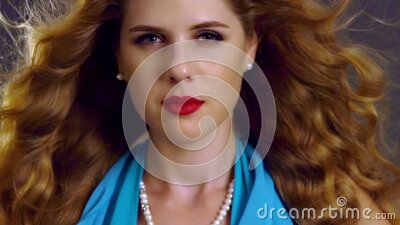 Slow motion flying hair and woman face with hypnosis look stock video