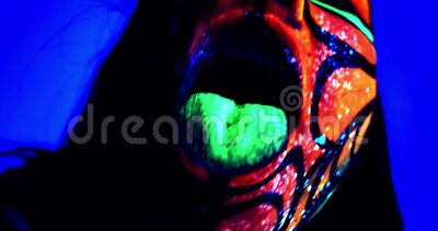 Close Up Of A Woman With Ultraviolet Body Art And Green Tongue 4k Stock Video Video Of Paint Line 171572113