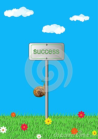 Slow movement to success, concept