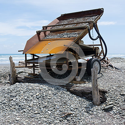 Sluice box to extract alluvial gold, West Coast NZ