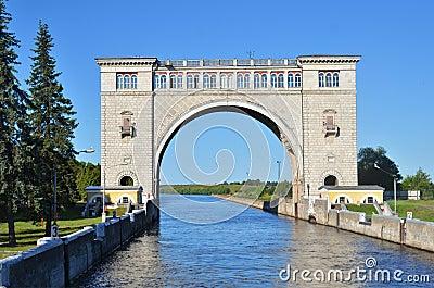Sluice gates on the river Volga