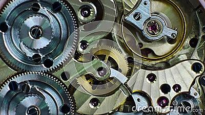 Sluit beelden van het mechanisme van de polshorloge. Het concept van de samenwerking van het Onderzoek en van de zaken stock video