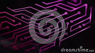 Sluit de computer RGB-gameelektronische schakeling, verlicht door gekleurd LED stock footage