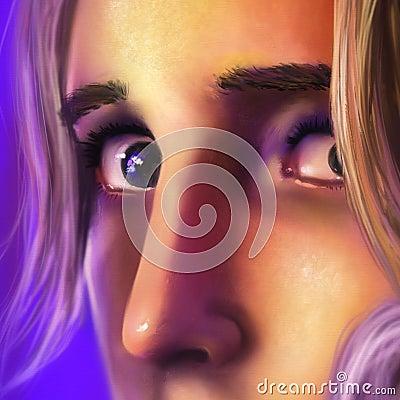 Sluit omhoog van het gezicht van een droevige vrouw - digitaal art.