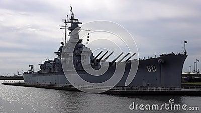 Sluit omhoog van het Slagschip ALABAMA 16 OKTOBER, 2013 van USS Alabama stock videobeelden