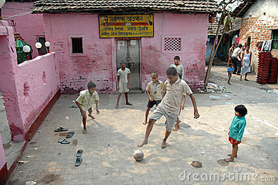 Slum children playing Editorial Stock Photo