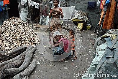 Slum dwellers of Kolkata-India Editorial Stock Photo