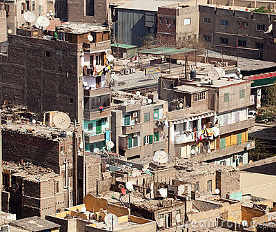 Slum dwellings in Cairo Egypt
