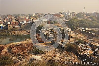 Slums of New Delhi seen from Tughlaqabad Fort