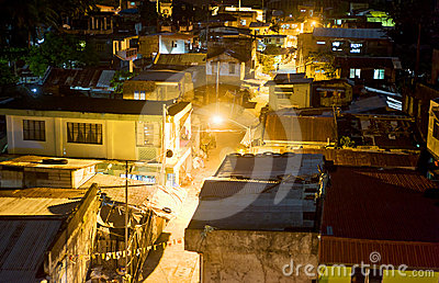 Slums at night Editorial Stock Image