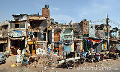 The Slums of Old Delhi Panorama, India Editorial Stock Image