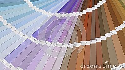 Slut för handbok för färgpalett upp Färgad provkartakatalog lager videofilmer