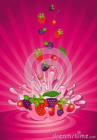 Smakelijk fruit in yoghurt
