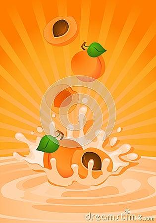 Smakelijke abrikoos in yoghurt