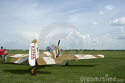 Small airplane at aviation show, raw Editorial Stock Photo