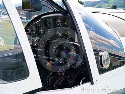 Small airplane cockpit