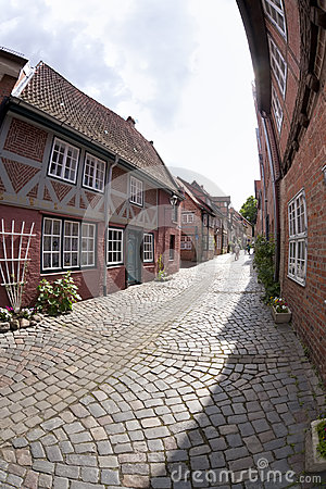Small alley at the old town of Lueneburg