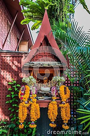 Free Small Altar Flower Offerings Jim Thompson House Bangkok Thailand Royalty Free Stock Photo - 48014155