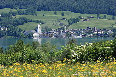 Small Austrian Town by the lake of Wolfgangsee