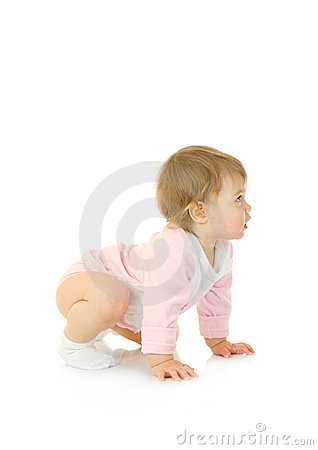 Small baby make gymnastic exercise isolated