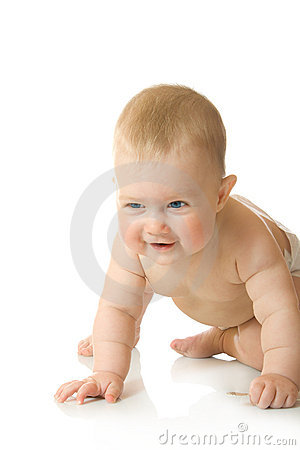 Small baby playing with spoon #9 isolated