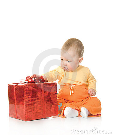 Small baby with red gift box #2 isolated