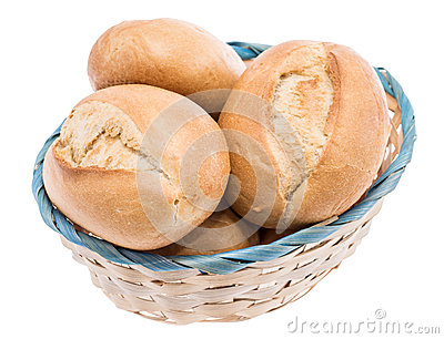 Small basket filled with buns on white