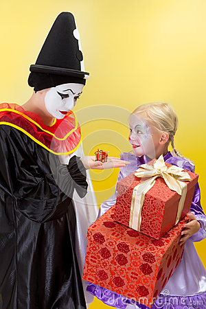 Small and big presents for clowns